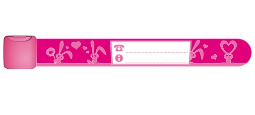 Infoband I.D. Travel Wrist Band for kids - Bunnies/Pink