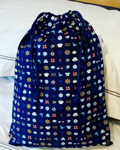 Kids Cotton Drawstring Gym/Swim/Shoe Bag - All at Sea