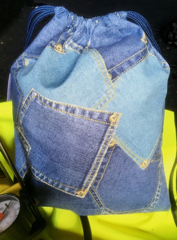 Men's Denim Wash Bag Drawstring Style - Blue Denim Pockets