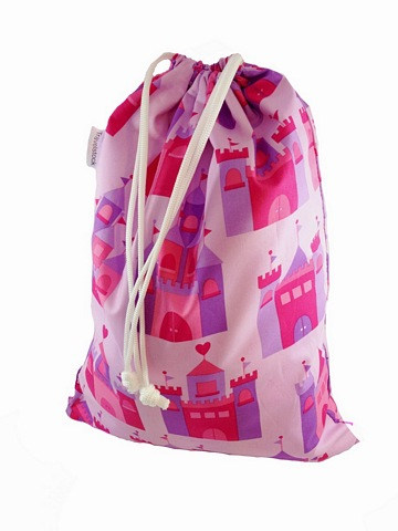 Kids Cotton Drawstring Gym/Swim/Shoe Bag - Pink Fairy Castles