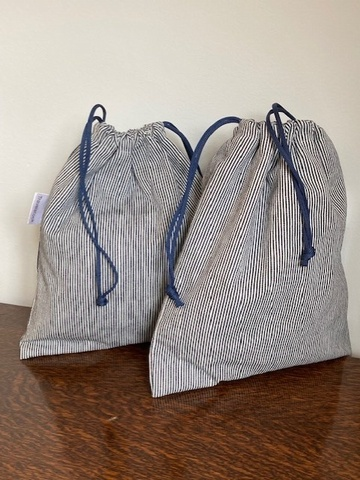 Men's Denim Wash Bag Drawstring Style Small - Navy/White Railroad Denim