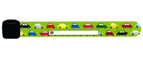 Infoband I.D. Travel Wrist Band for kids - Cars/Green